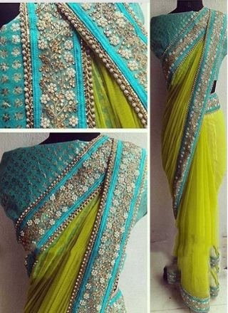 Parrot Sky Blue Embroidery Lace Border Nazmin Georgette Banarasi Designer Sarees http://www.angelnx.com/