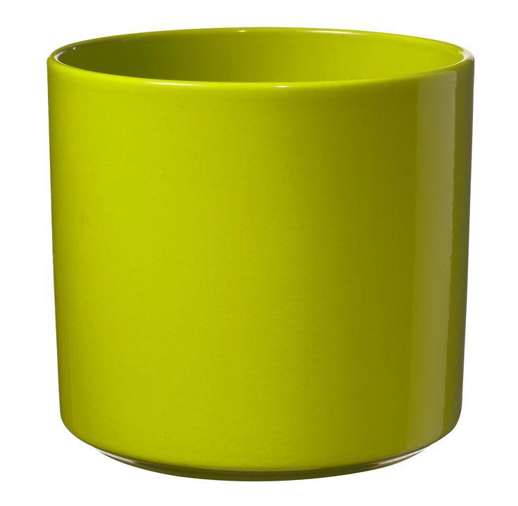Las Vegas Round Ceramic Green Plant Pot (H)20cm (Dia)21cm | Departments | DIY at B&Q
