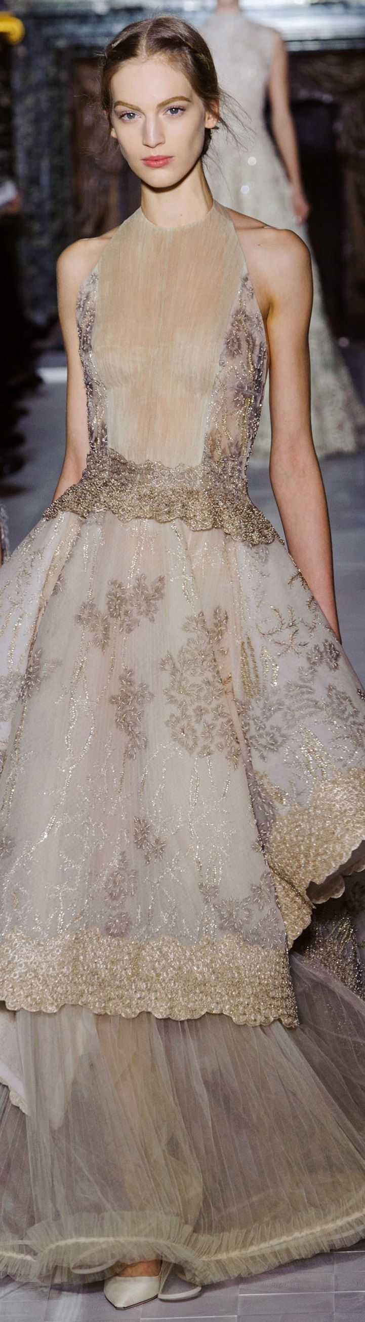 Valentino ~ Gold + Silver Metallic Embellished Taupe Gown, 2013