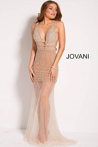 ff06c05c656 Nude Silver Embellished Plunging Neckline Sheer Prom Dress 51272 ...