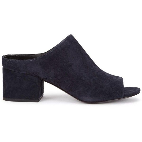 Womens Mules 3.1 Phillip Lim Navy Suede Mules ($510) ❤ liked on Polyvore featuring shoes, suede shoes, suede mules, slipon shoes, navy blue suede shoes and mid heel shoes