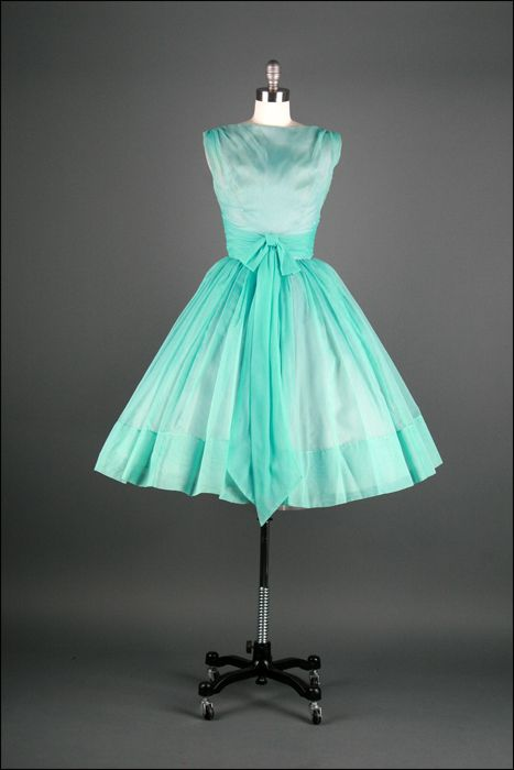 ~Vintage 1950s dress  * Aqua chiffon  * Acetate and tulle lining~