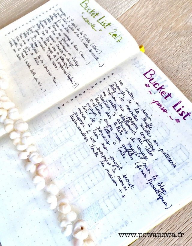 bucket list / français / bullet journal