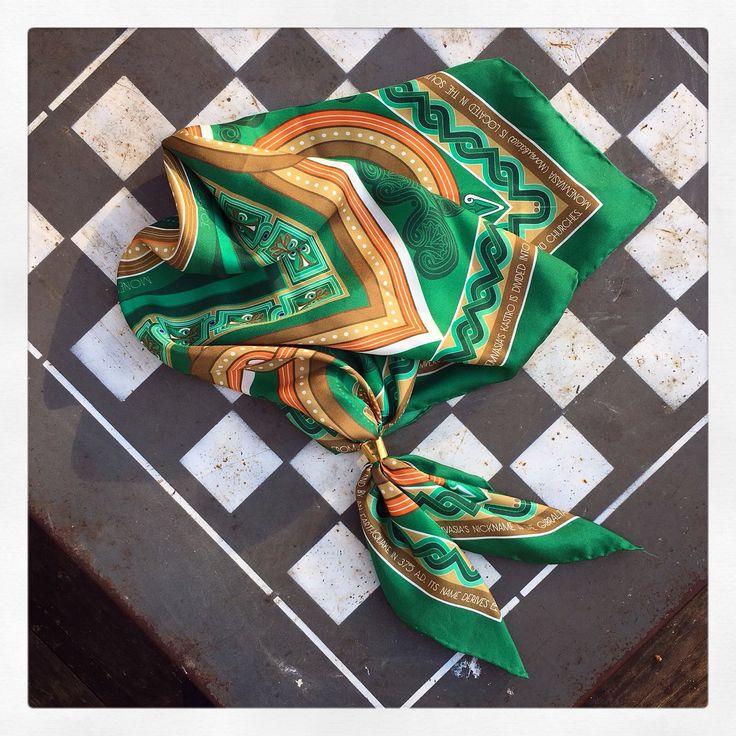 """""""Monemvasia"""" silk scarf, in emerald green by Grecian Chic!"""