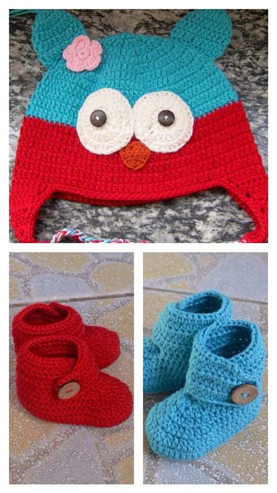Crochet Owl Beanie and Baby Bootie Set, Hat And Booties ...