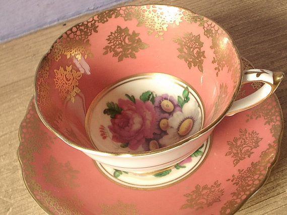 Antique 1950's Paragon tea cup set, vintage peach and gold tea cup and saucer, English tea set, bone china tea cup
