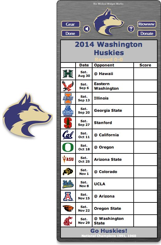 Free 2014 Washington Huskies Football Schedule Widget for Mac OS X - Go Huskies!  National Champions 1991, 1960  http://riowww.com/teamPages/Washington_Huskies.htm