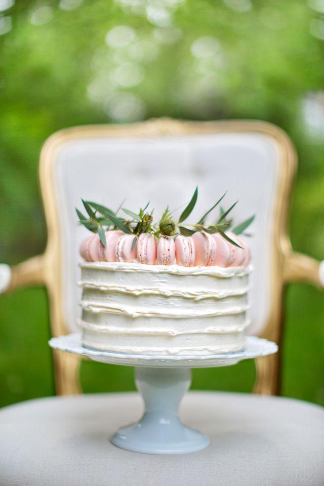 Macaron topped cake   Maru Photography   see more on: http://burnettsboards.com/2014/08/hidden-garden-bridal-inspiration/