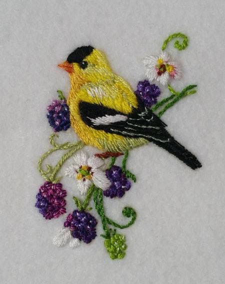 Bird, burry. Embroidery