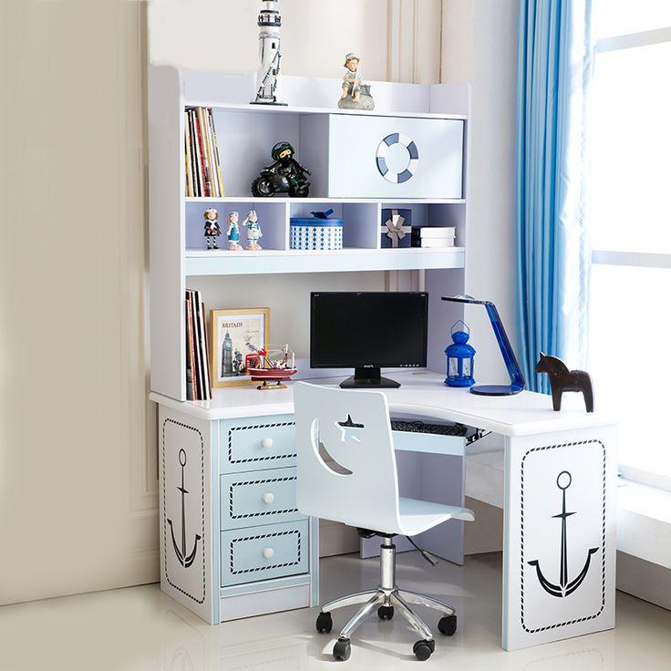 Белый детский угловой компьютерный стол с рисунком якоря и выдвижными ящиками, и большими полками сверху купить в интернет-каталоге мебели https://lafred.ru/catalog/catalog/detail/45603751859/