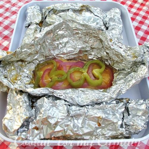 Camping Cookout food pockets.  Lots of ideas and recipes.  Cuts down on prep time so you can spend more time with family.