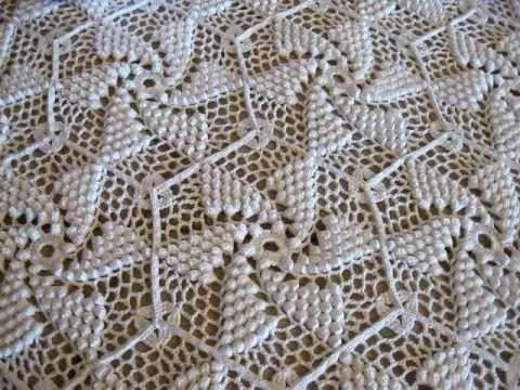 Crocheted Popcorn Pinwheel Bed Spread by Frances Johnson