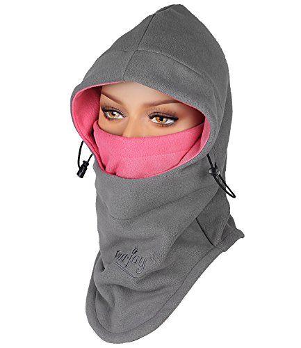 Purjoy Multipurpose Use 6 in 1 Thermal Warm Fleece Balaclava Hood Police Swat Ski Bike Wind Stopper Full Face Mask Hats Neck Warmer Outdoor Winter Sports Snowboarding cap(GreyRose)