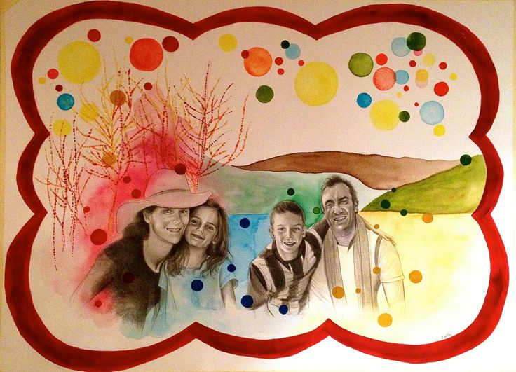 "Contemporary Illustration - ""Custom Family Portrait Commissioned by Brenda"" (Original Art from Emese Cuth)"