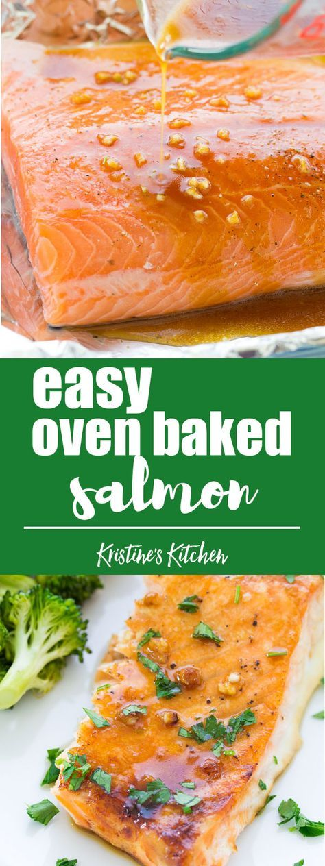 This easy oven baked salmon recipe is our favorite! With a honey, Dijon and garlic sauce and just 10 minutes of prep time this salmon is a 30 minute meal. #salmon #30minutemeal #healthyrecipes #dinner #dinnerrecipes