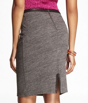 SLUB PENCIL SKIRT WITH TRIM