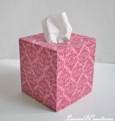 PINK GLITTER DAMASK Tissue Box Cover  by LaurieBCreations on Etsy