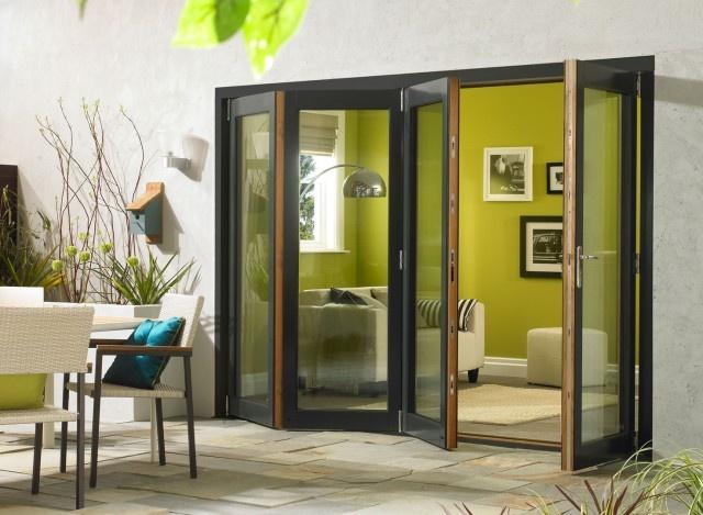 Ultra 10ft Grey Aluminium Clad Oak Folding Doors | Vufold