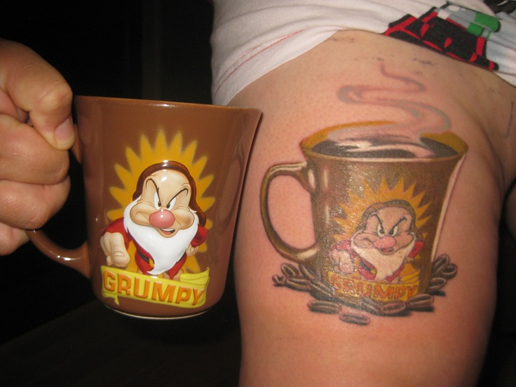 My Grumpy mug tattoo, done by Amber Thorpe. My fav mug!!