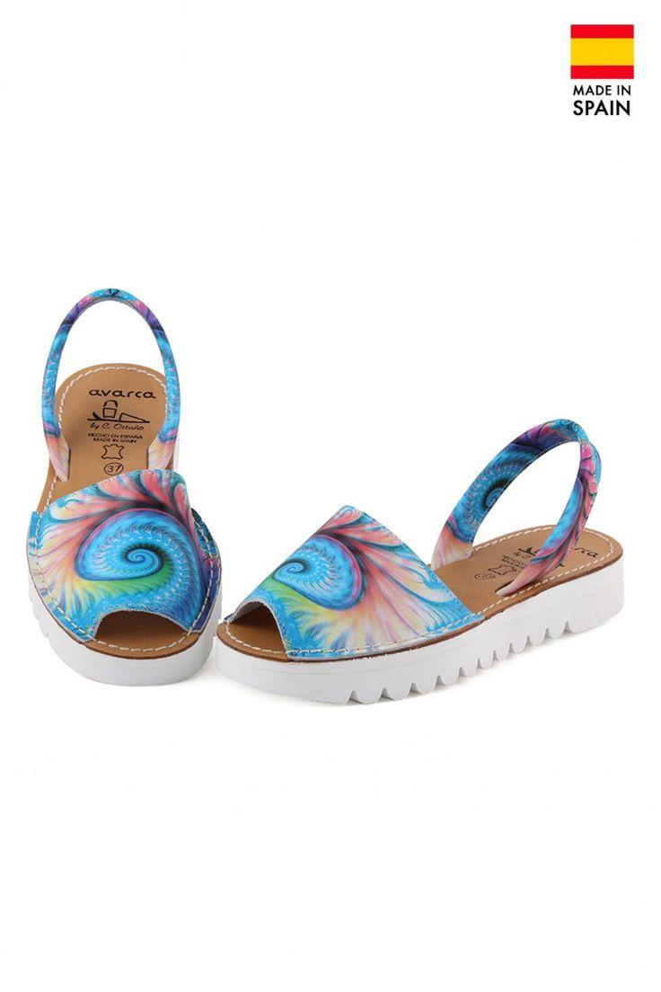 Sandale Avarca cu semi-platforma din piele naturala Fibonacci, multicolor