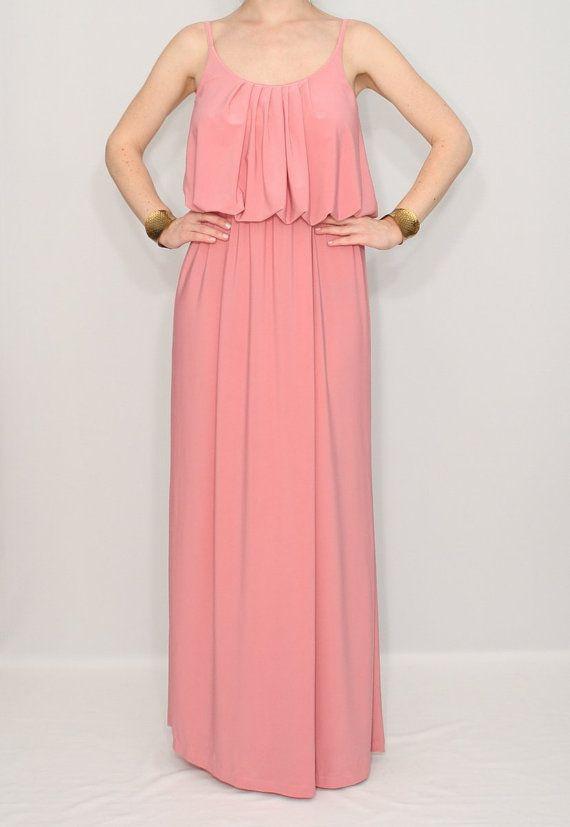 Light pink maxi dress Pink Bridesmaid dress Spaghetti by dresslike