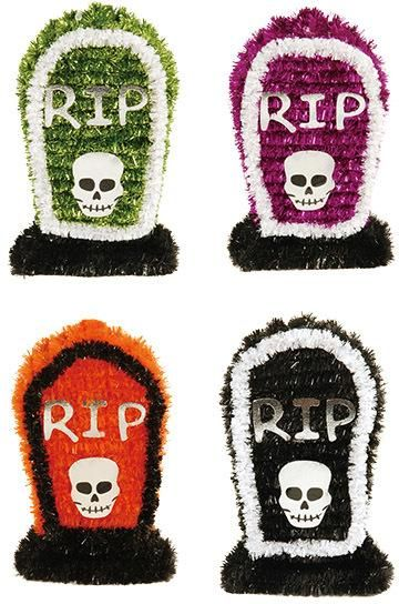 Halloween RIP Tombstone Tinsel Table Decorations -- 24 Units