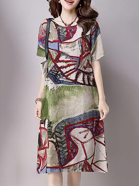 67e2bb68ff34 Buy Linen Dress For Women from HUAXIANGU at Stylewe. Online Shopping Stylewe  Crew Neck Daily Dress Short Sleeve Casual Linen Printed…