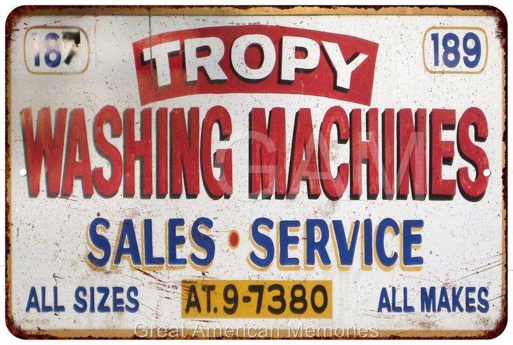 Tropy Washing Machines Sales Service Vintage Reproduction Sign 8x12 8121553