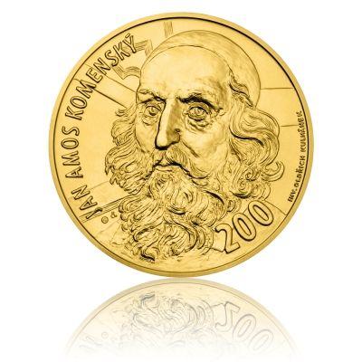 Zlatá medaile ve váze 40dukátu J.A. Komenský - motiv bankovky 200 Kč stand | Česká mincovna