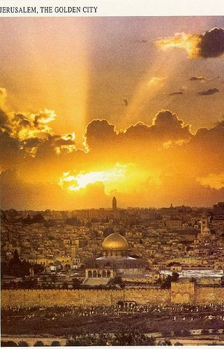 Jerusalem Sunrise with streaming golden rays of sun over Israel's capitol city.  RESEARCH #DdO) - https://www.pinterest.com/DianaDeeOsborne/sky-lights/ - SKY LIGHTS. Beams don't REALLY spread out. Come down straight parallel lines but they appear to converge. Effect is like railroad track's appearance as you look at it going into the distance. Photo from Flickr.