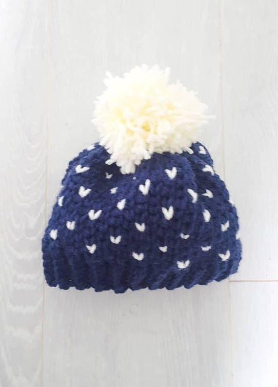 Newborn crochet heart hat with pom pom baby gift