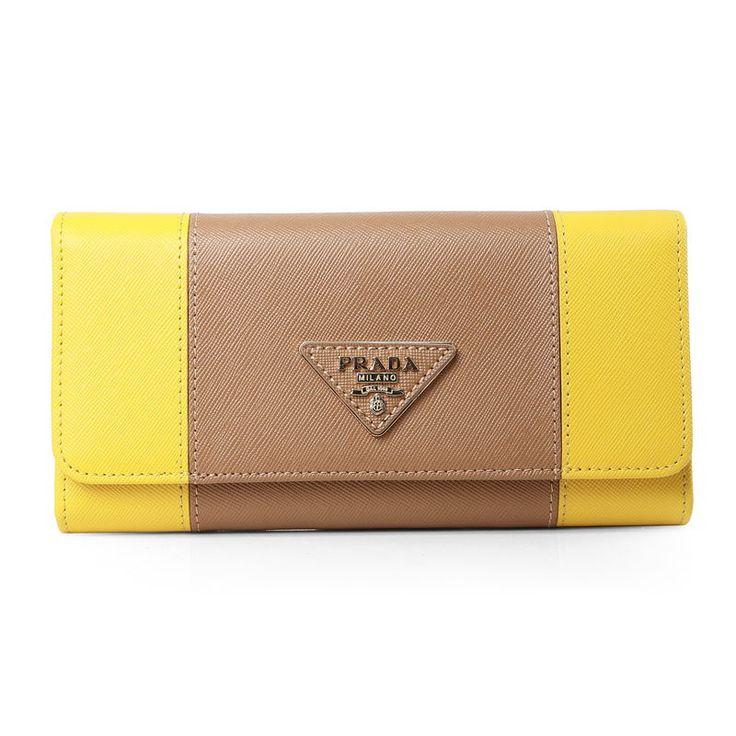 Prada Yellow/Khaki Saffiano Leather Long Wallet                $129.00