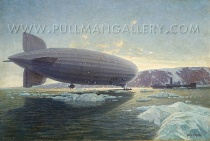 """This painting """"LZ 127 Graf Zeppelin meets the Icebreaker Malygin"""" by Alexander Kircher is a piece of looted art. It was acquired by the Reichspostmuseum in Berlin in 1931. During WW II the collection was evacuated to Schloss Waltershausen. At the end of war in 1945 the painting was looted. In 2005 it was sold at Cowan's Auction in Cincinnati, OH for 19.000 $. Since then the Pullman Gallery in London is trying to sell it again. The Museum für Kommunikation Frankfurt requested restitution."""