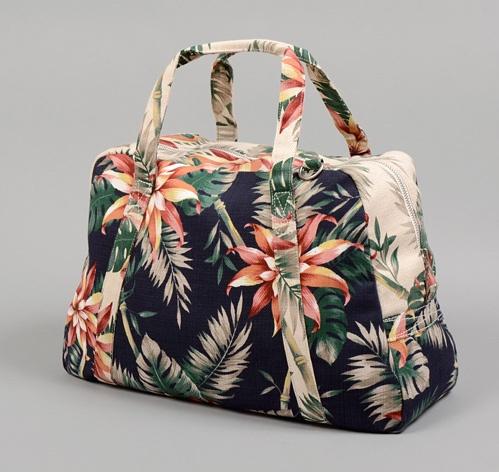 """""""Boston"""" Weekender Bag, Natural & Navy Aloha Print"""