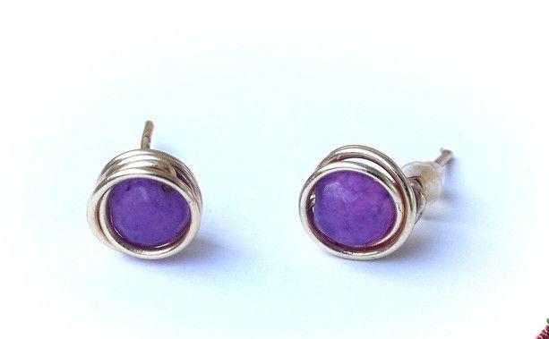 Stud Earrings – Earrings jade wire wrapping – a unique product by betulek on DaWanda