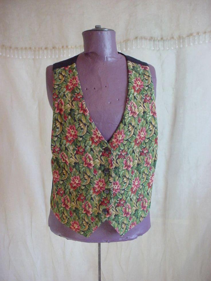 Lined Floral Tapestry Vest Medium Renaissance Garb Brynn Connelly Cotton Blend #BrynnConnelly #Vest