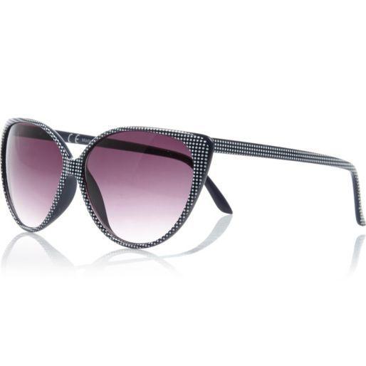 Navy blue polka dot cat eye sunglasses #riverisland