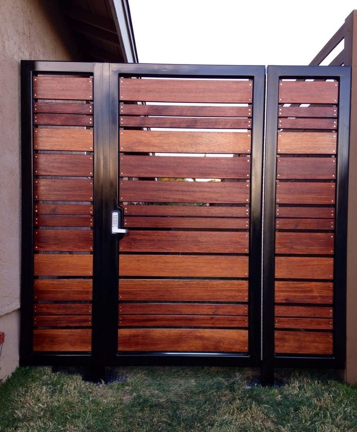 Affinity Fence & Gate - San Diego, CA, United States. Modern horizontal style entry gate ipe mangaris tropical hardwood, prominent welded steel frame, keyless entry