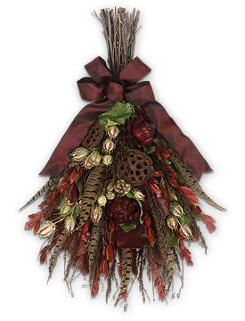 fall floral swags | Burgundy Pheasant Swag