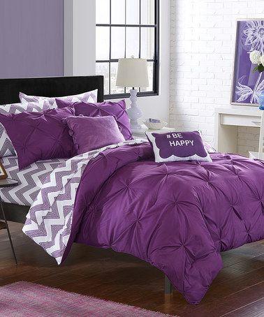 Look what I found on #zulily! Purple Chevron Reversible Microfiber Comforter Set #zulilyfinds