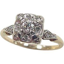 Art Deco 14k Gold Two-Tone .20 ctw Diamond Ring