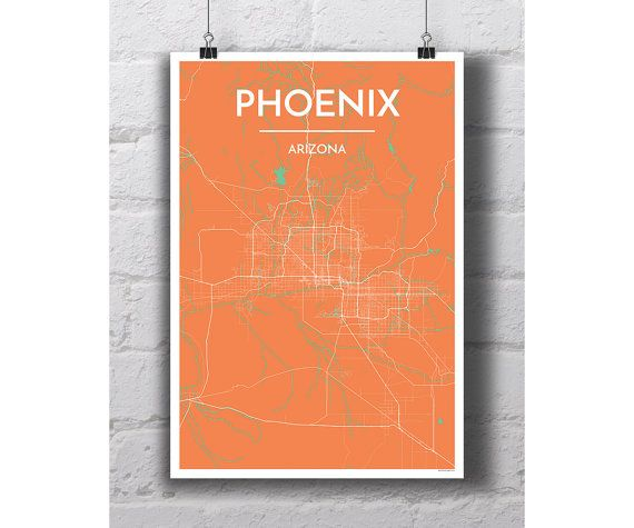 Phoenix Arizona  City Map Print by PointTwoMaps on Etsy