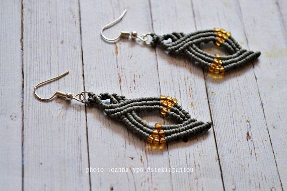 macrame beaded earrings woven micro macrame dangle with  #stekiapantou #ioannaypo #macramejewelry #macramelove #macrameart #macrameearrings #lightgray #beadedearrings #twistinfinity #geometricjewelry #dangleearrings #etsyseller #etsyshop #etsyfinds #etsygifts #greekdesigners #greeklife #madeingreece #syros #thessaloniki #egst #dangledrop #etsy #bohoearrings #tribalearrings #simpleearrings #uniqueearrings