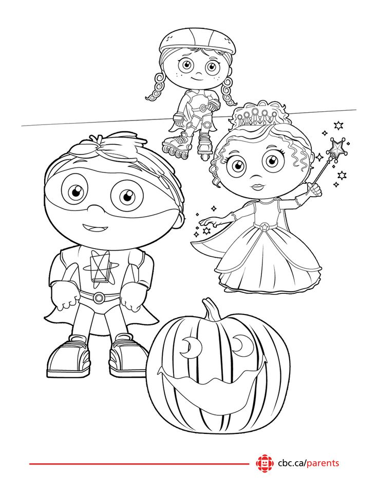 4 Printable Halloween Colouring pages featuring #superWHY #catinthehat #busytown and #bigblocksingsong