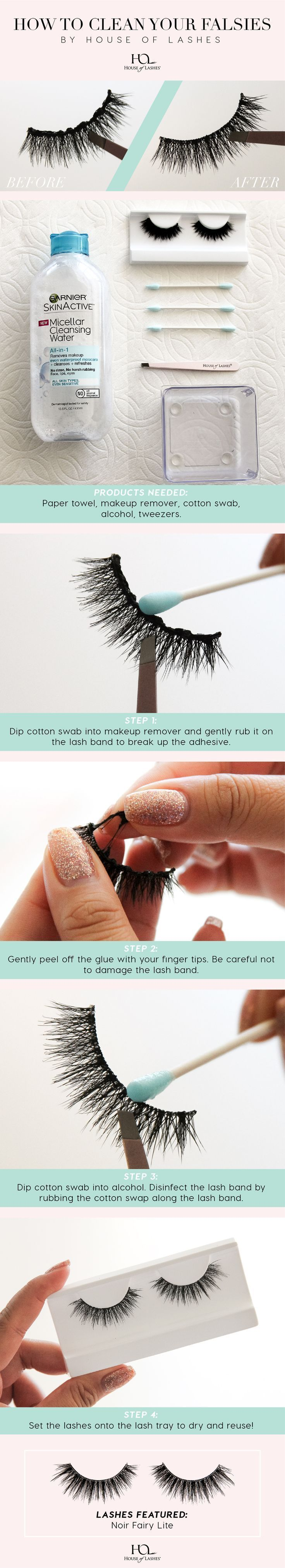 How To Clean Your False Lashes by. House of Lashes:   Products needed: Paper towel, makeup remover, cotton swab, alcohol, tweezers.  Step 1. Dip cotton swab into makeup remover and gently rub it on the lash band to break up the adhesive.    Step 2. Gently https://www.youtube.com/channel/UC76YOQIJa6Gej0_FuhRQxJg