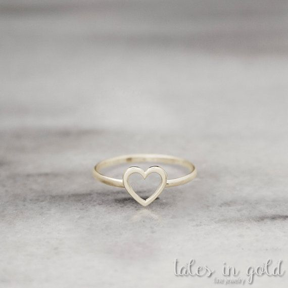 Heart Ring Gold Ring Valentine's Day 14 karat gold by TalesInGold