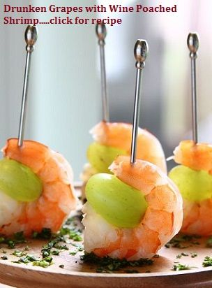 """""""Drunken Grapes"""" with Wine Poached Shrimp...APPETIZER RECIPES FOR YOUR NEXT PARTY!!.... one of the tapas recipes in my latest """"Wanderlust Food Diaries"""" article, """"Baila Me"""" (Dance with Me), In Granada, Spain...and a quick note on how to make healthy appetizers"""