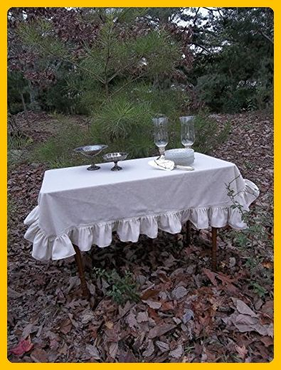 Ruffled Linen Tablecloth, Custom Sizes, Natural Linen Tablecloth, French Country Tablecloth, Cottage Chic Table Linens - Venue and reception decor (*Amazon Partner-Link)
