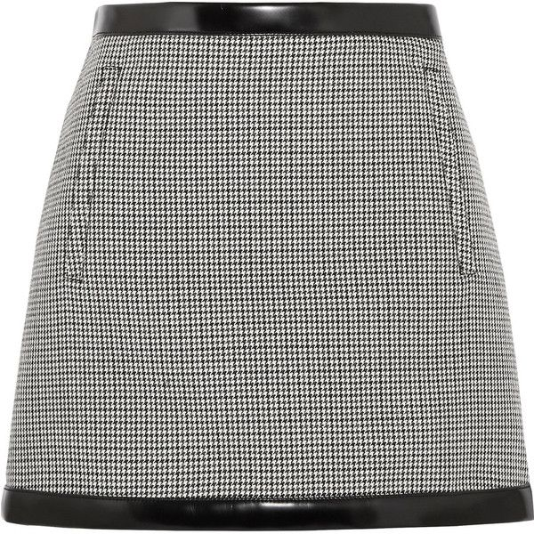 Philosophy di Lorenzo Serafini Faux leather-trimmed houndstooth wool... (20.995 RUB) ❤ liked on Polyvore featuring skirts, mini skirts, checkered mini skirt, philosophy di lorenzo serafini, checkered skirt, houndstooth skirt and short mini skirts