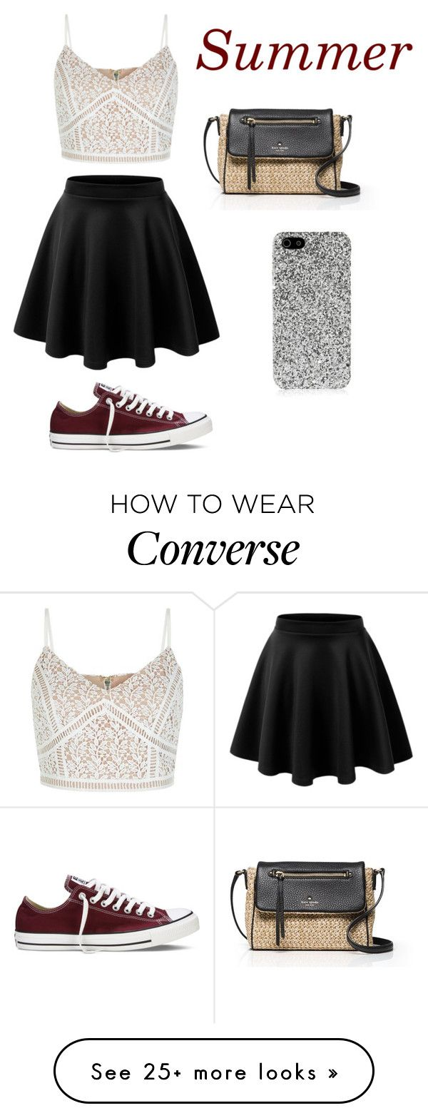 """""""Untitled #170"""" by dionnalasha18 on Polyvore featuring New Look, Kate Spade, Converse, Yves Saint Laurent, summerishere and strawbags"""